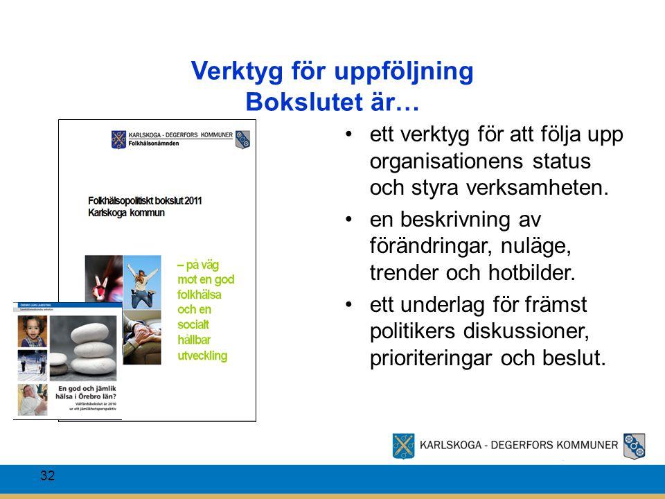 Verktyg för uppföljning Bokslutet är… ett verktyg för att följa upp organisationens status och styra verksamheten. en beskrivning av förändringar, nul