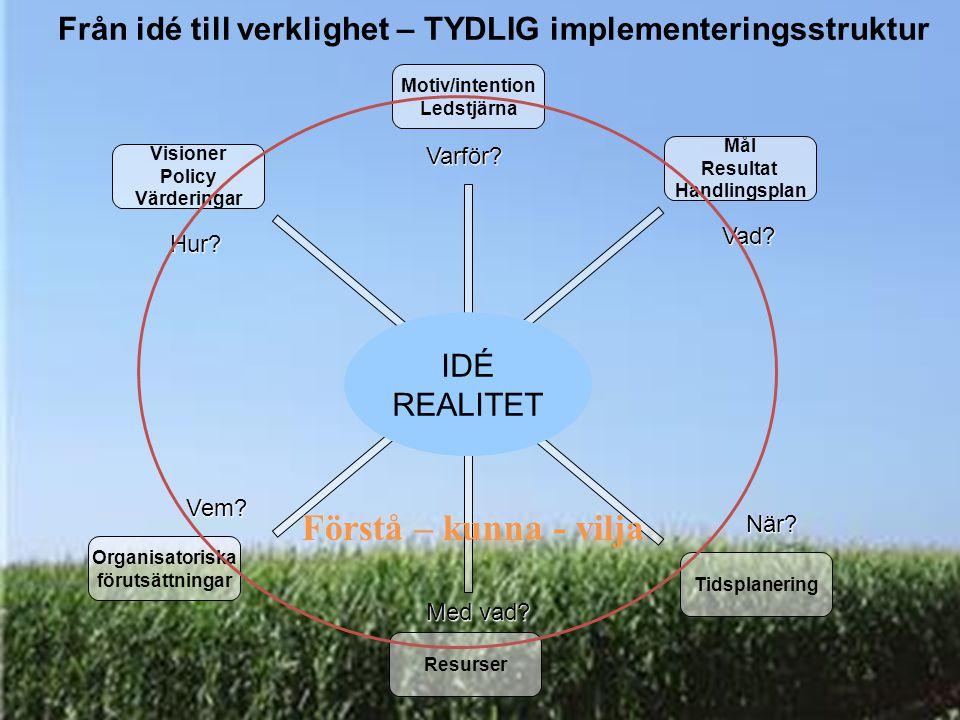 IDÉ REALITET Från idé till verklighet – TYDLIG implementeringsstruktur Visioner Policy Värderingar Motiv/intention Ledstjärna Mål Resultat Handlingspl