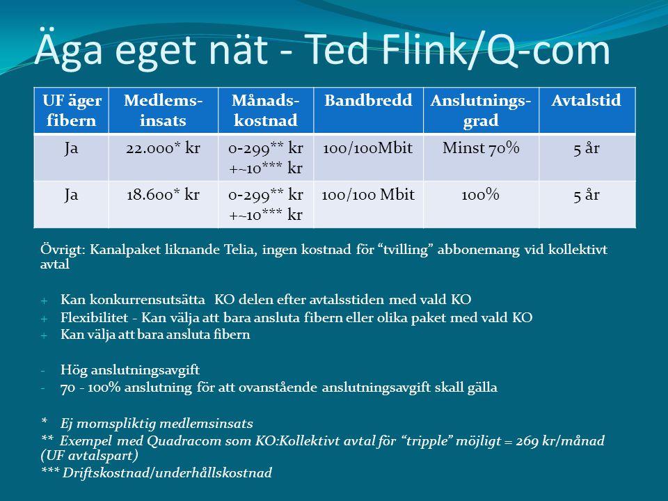 """Äga eget nät - Ted Flink/Q-com Övrigt: Kanalpaket liknande Telia, ingen kostnad för """"tvilling"""" abbonemang vid kollektivt avtal + Kan konkurrensutsätta"""