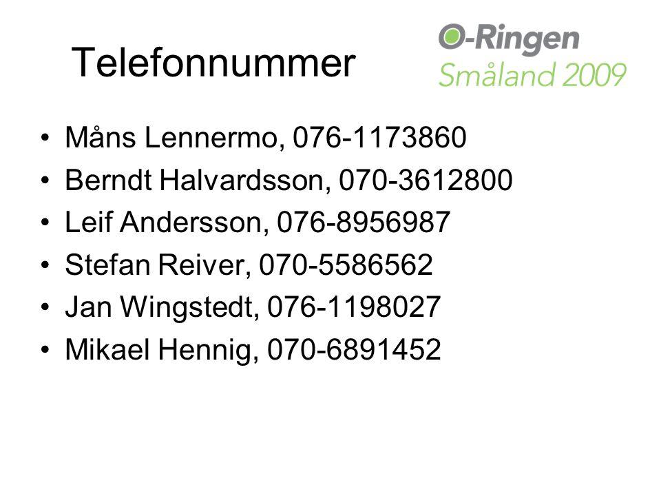 Telefonnummer Måns Lennermo, 076-1173860 Berndt Halvardsson, 070-3612800 Leif Andersson, 076-8956987 Stefan Reiver, 070-5586562 Jan Wingstedt, 076-1198027 Mikael Hennig, 070-6891452