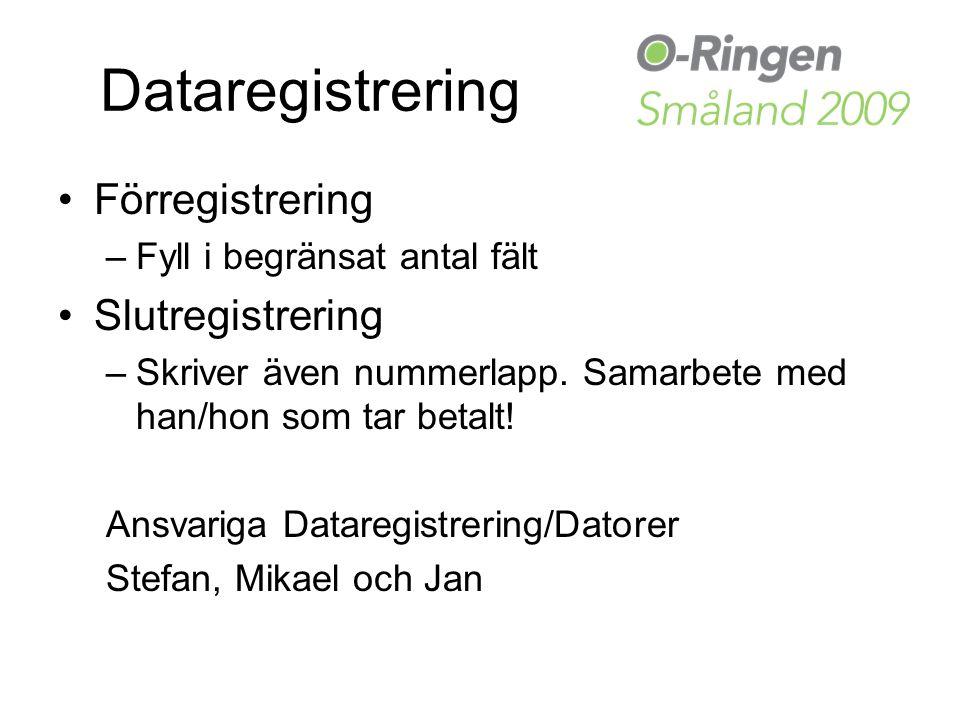 Dataregistrering Förregistrering –Fyll i begränsat antal fält Slutregistrering –Skriver även nummerlapp.