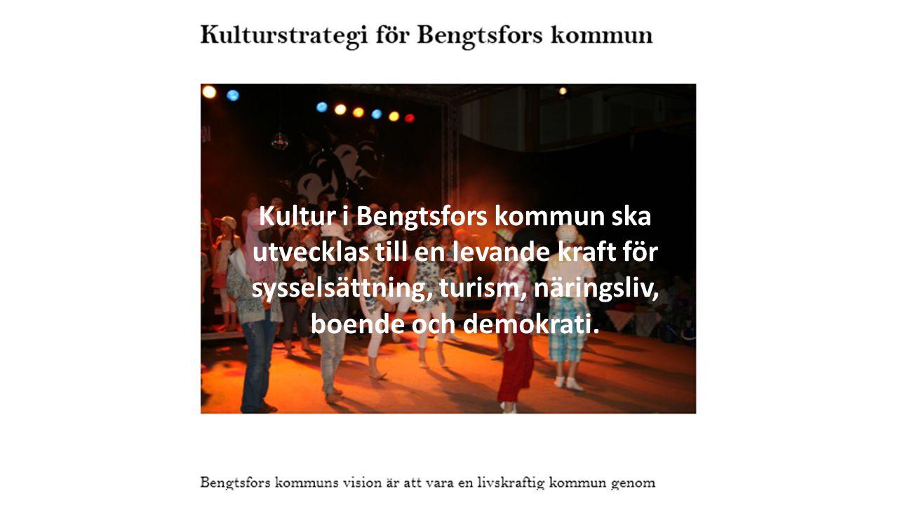Kultur i Bengtsfors kommun ska utvecklas till en levande kraft för sysselsättning, turism, näringsliv, boende och demokrati.