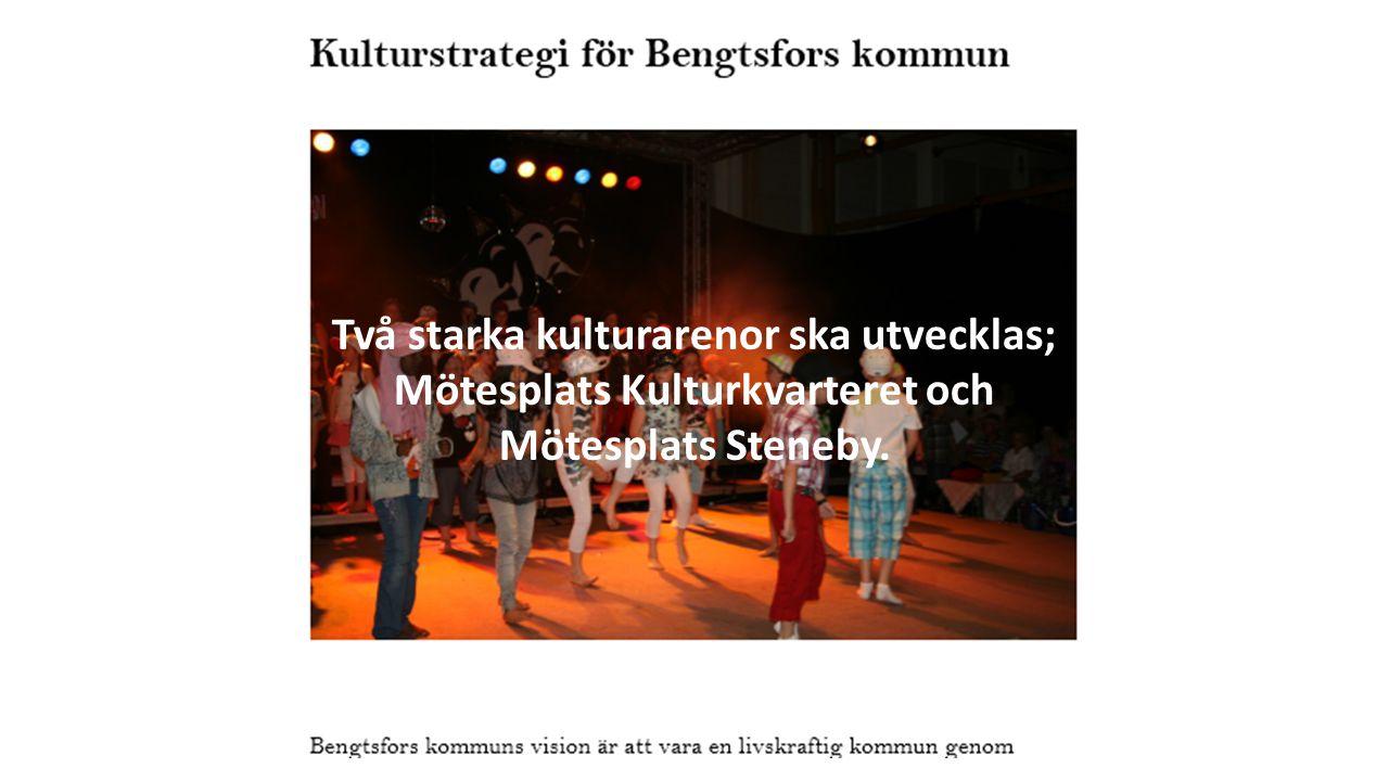 Två starka kulturarenor ska utvecklas; Mötesplats Kulturkvarteret och Mötesplats Steneby.