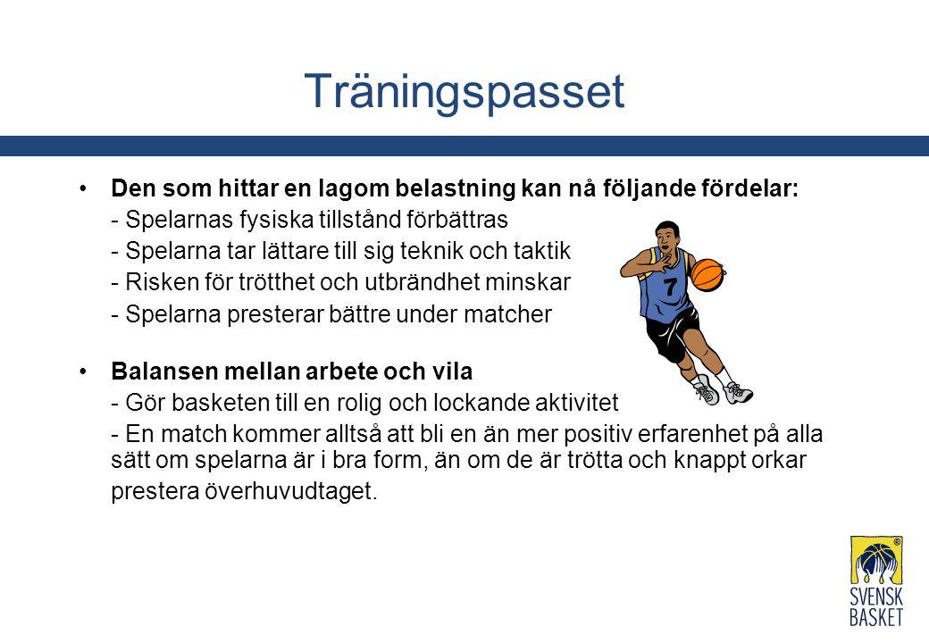 Träningspasset Den som hittar en lagom belastning kan nå följande fördelar: - Spelarnas fysiska tillstånd förbättras - Spelarna tar lättare till sig t