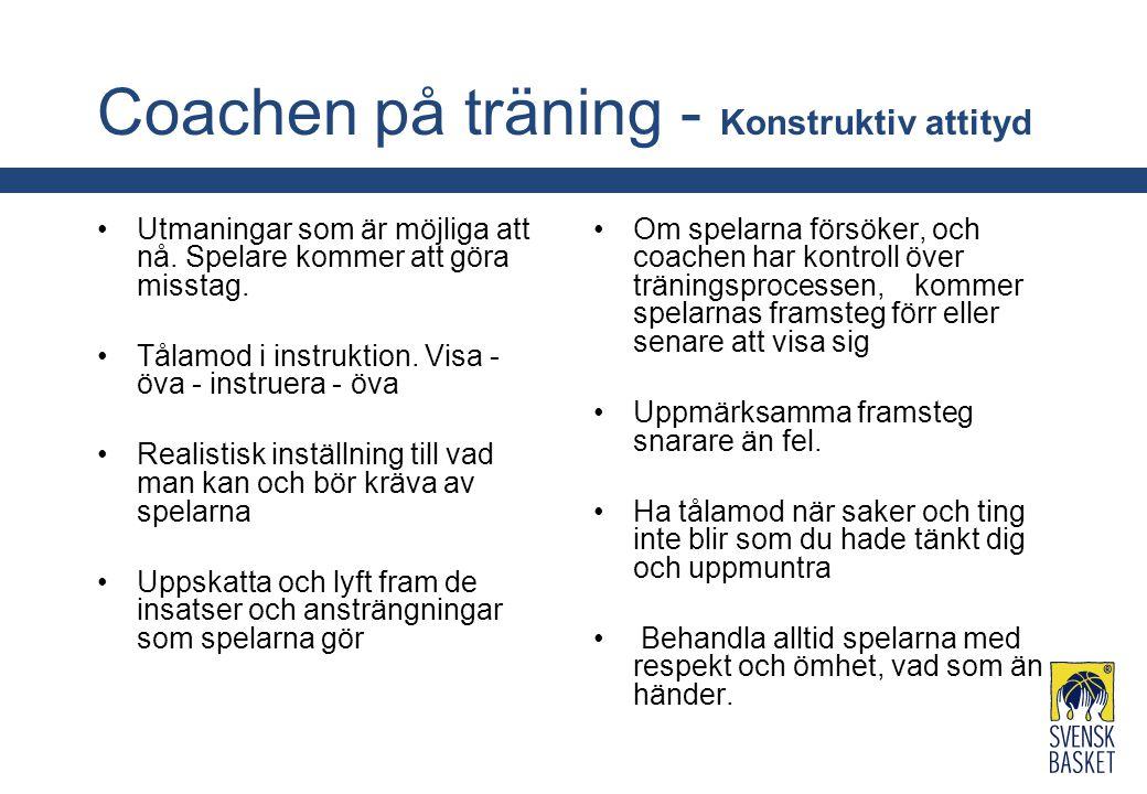 Coachen på träning - Konstruktiv attityd Utmaningar som är möjliga att nå. Spelare kommer att göra misstag. Tålamod i instruktion. Visa - öva - instru