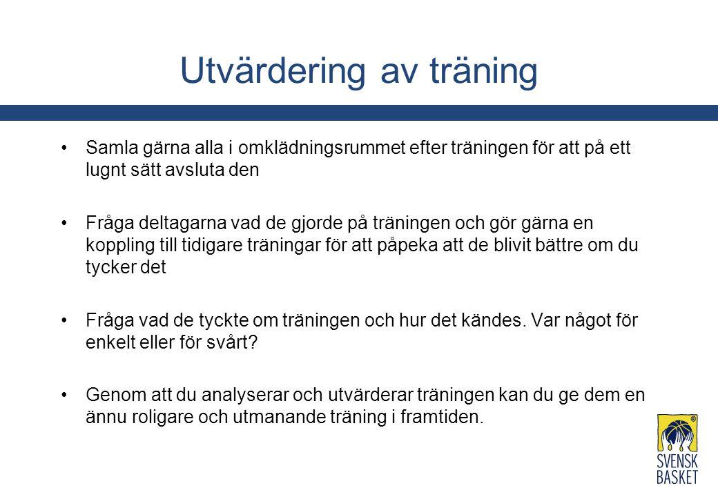 Utvärdering av träning Samla gärna alla i omklädningsrummet efter träningen för att på ett lugnt sätt avsluta den Fråga deltagarna vad de gjorde på tr
