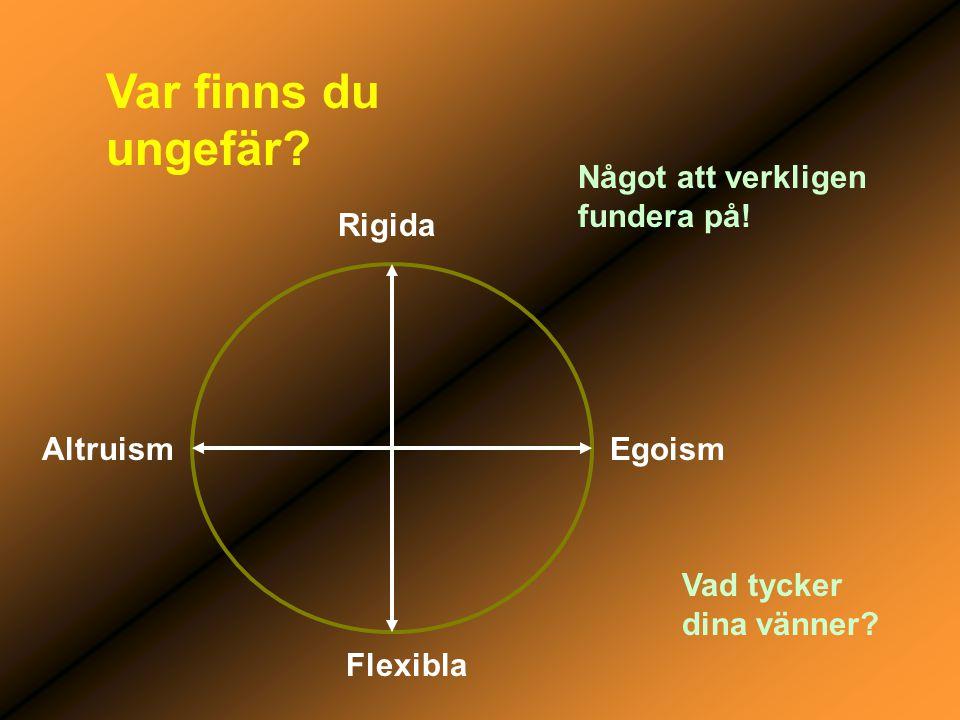 Var finns du ungefär? AltruismEgoism Rigida Flexibla Något att verkligen fundera på! Vad tycker dina vänner?