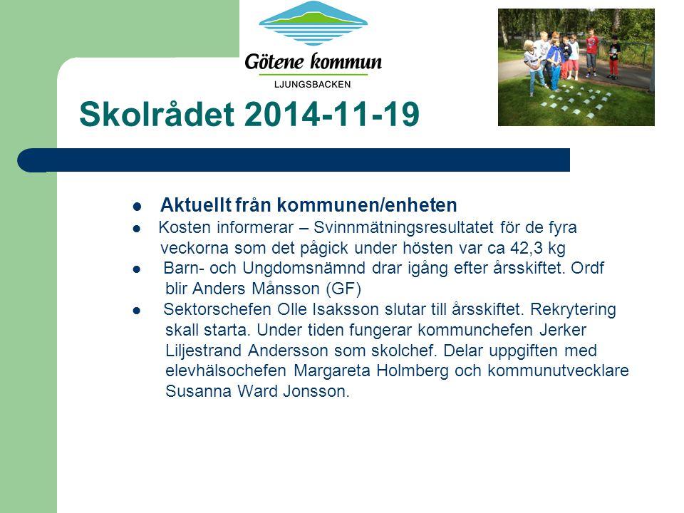 Skolrådet 2014-11-19 Aktuellt från kommunen/enheten Kosten informerar – Svinnmätningsresultatet för de fyra veckorna som det pågick under hösten var ca 42,3 kg Barn- och Ungdomsnämnd drar igång efter årsskiftet.