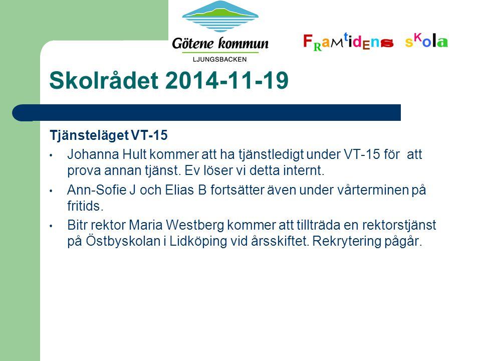Skolrådet 2014-11-19 Tjänsteläget VT-15 Johanna Hult kommer att ha tjänstledigt under VT-15 för att prova annan tjänst.
