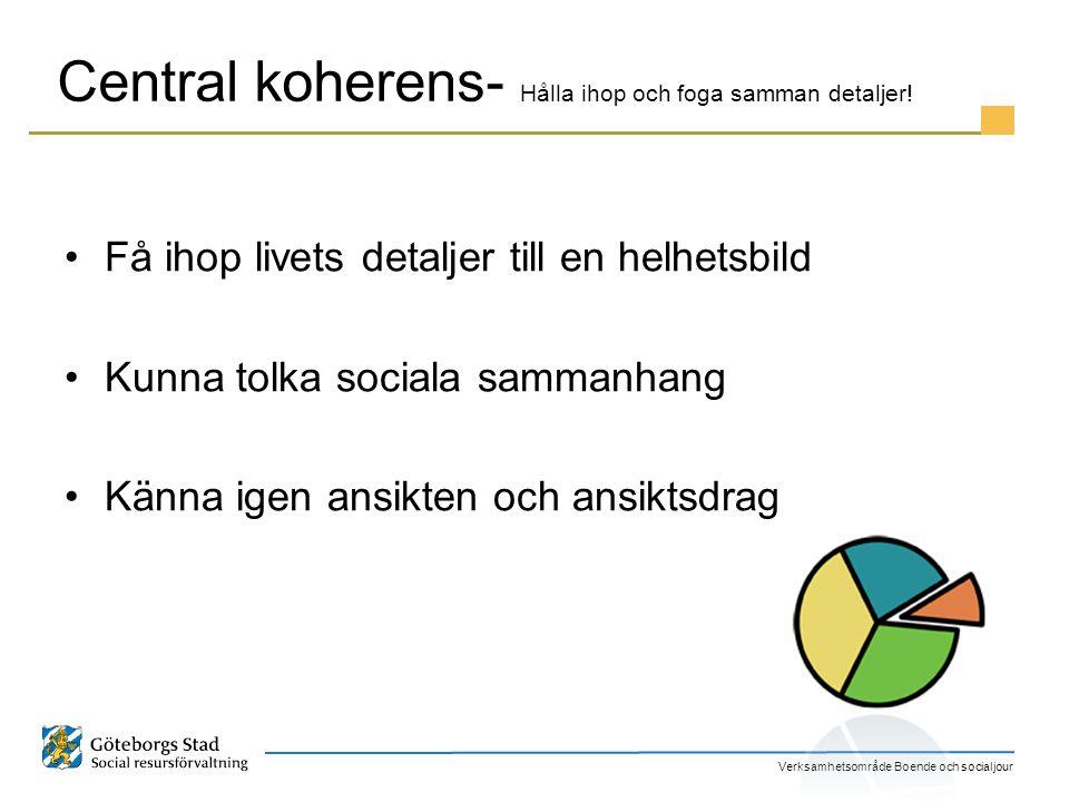 Verksamhetsområde Boende och socialjour Central koherens- Hålla ihop och foga samman detaljer! Få ihop livets detaljer till en helhetsbild Kunna tolka