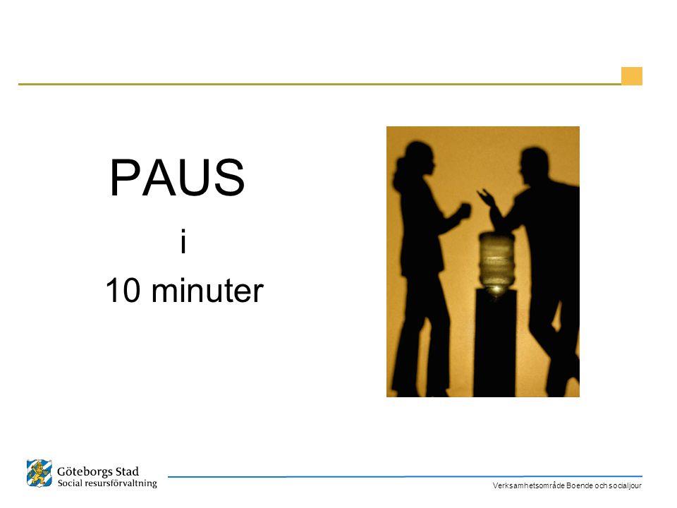 Verksamhetsområde Boende och socialjour PAUS i 10 minuter