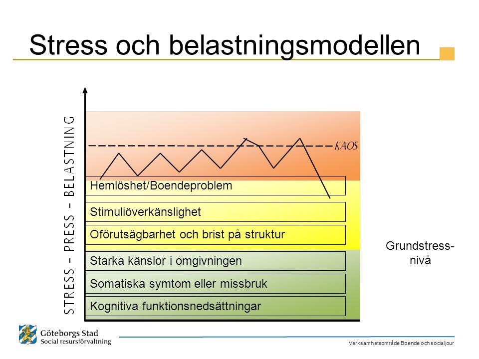 Verksamhetsområde Boende och socialjour Stress och belastningsmodellen Kognitiva funktionsnedsättningar Somatiska symtom eller missbruk Starka känslor