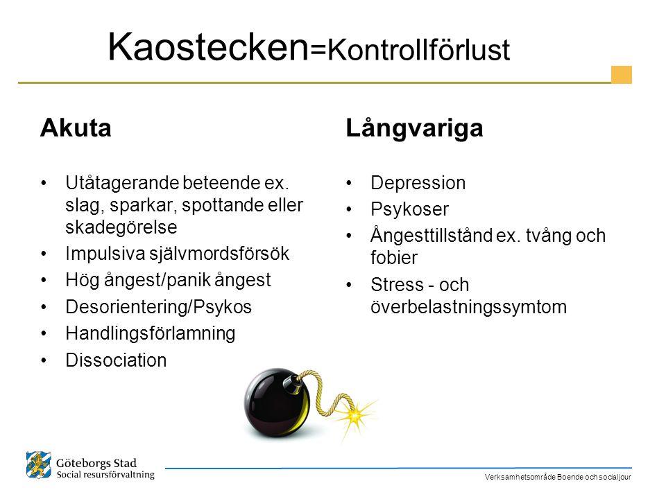 Verksamhetsområde Boende och socialjour Kaostecken =Kontrollförlust Akuta Utåtagerande beteende ex. slag, sparkar, spottande eller skadegörelse Impuls