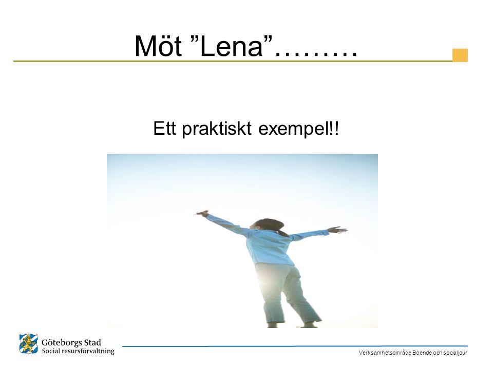 "Verksamhetsområde Boende och socialjour Möt ""Lena""……… Ett praktiskt exempel!!"