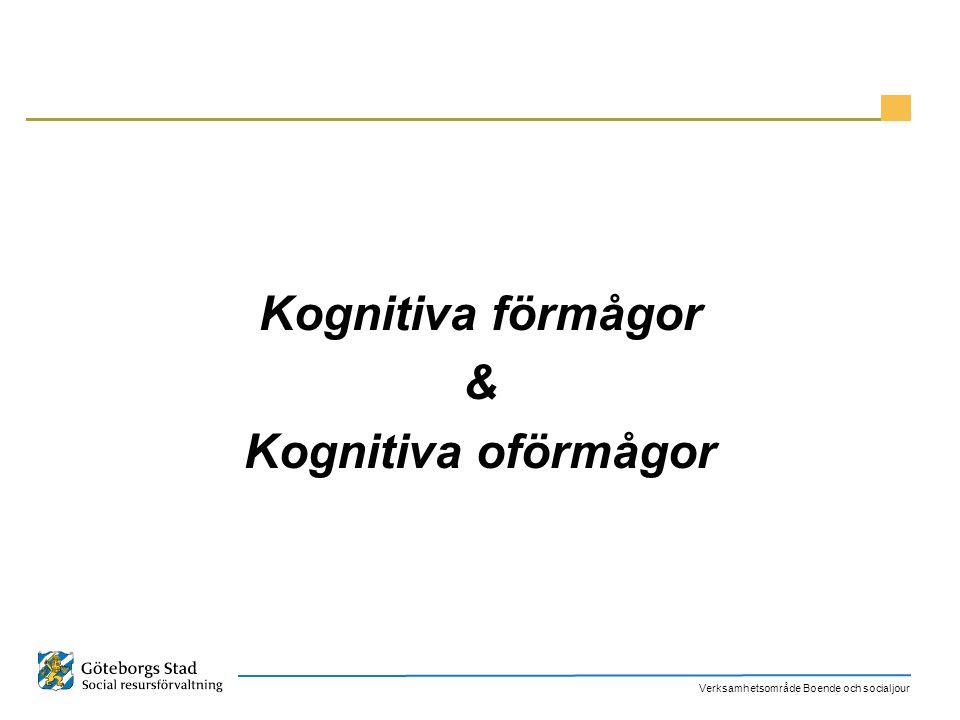 Verksamhetsområde Boende och socialjour Konsekvenser Ett annorlunda sätt att tänka och uppfatta omgivningen och därmed ett annorlunda beteende Stora svårigheter att hantera sin vardag/ ADL (Aktiviteter i det dagliga livet) Självmedicinering (missbruk) Stressbeteenden/ negativa hanteringsstrategier/ problemskapande beteende KASAM (låg känsla av sammanhang) Ojämn profil Generalisera kunskap Sömnstörningar Uppmärksamhets störningar/ Trötthet Minnesstörningar