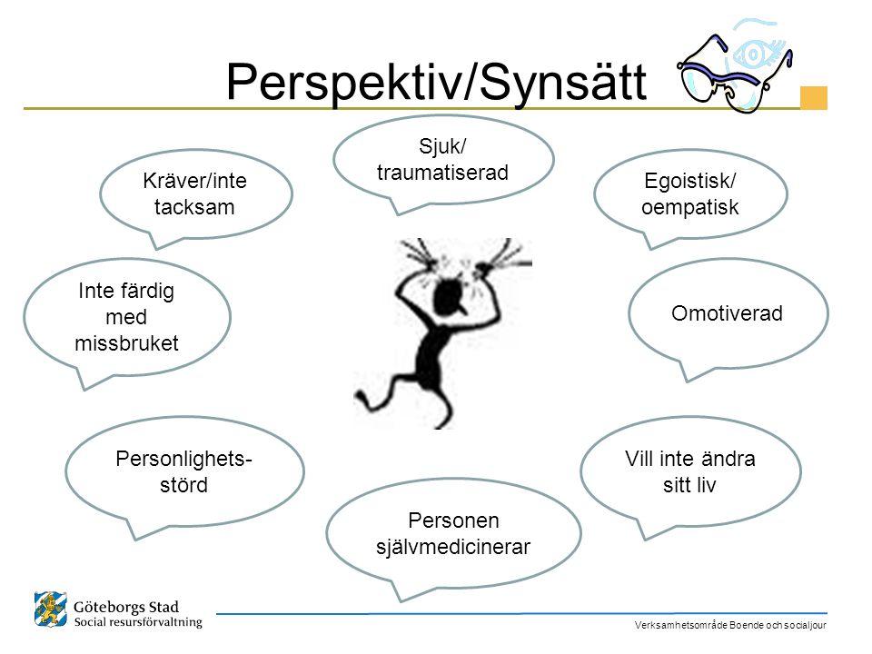 Verksamhetsområde Boende och socialjour Perspektiv/Synsätt Inte färdig med missbruket Personen självmedicinerar Sjuk/ traumatiserad Personlighets- stö