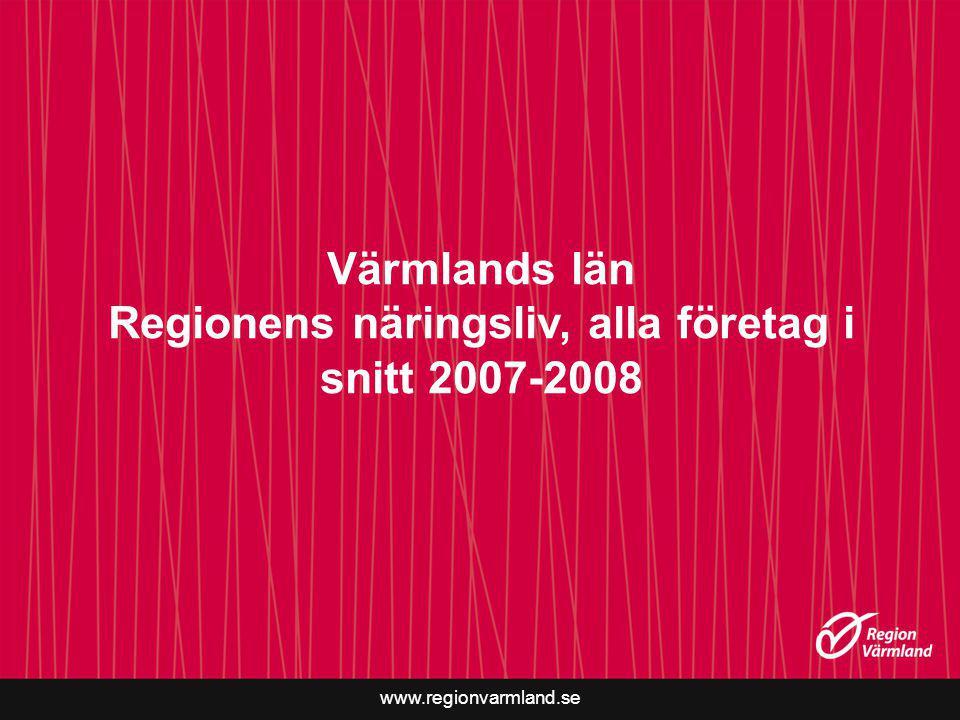 www.regionvarmland.se Värmlands län Regionens näringsliv, alla företag i snitt 2007-2008