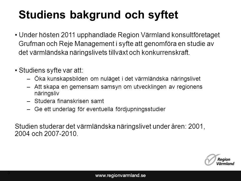 www.regionvarmland.se Studiens bakgrund och syftet Under hösten 2011 upphandlade Region Värmland konsultföretaget Grufman och Reje Management i syfte att genomföra en studie av det värmländska näringslivets tillväxt och konkurrenskraft.