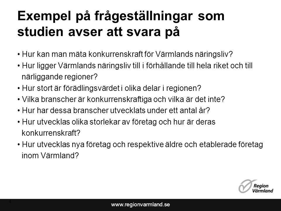 www.regionvarmland.se Exempel på frågeställningar som studien avser att svara på Hur kan man mäta konkurrenskraft för Värmlands näringsliv.