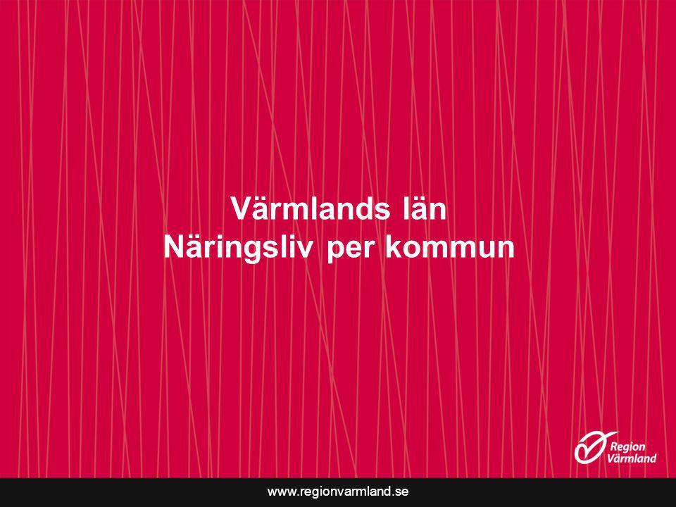 www.regionvarmland.se Värmlands län Näringsliv per kommun