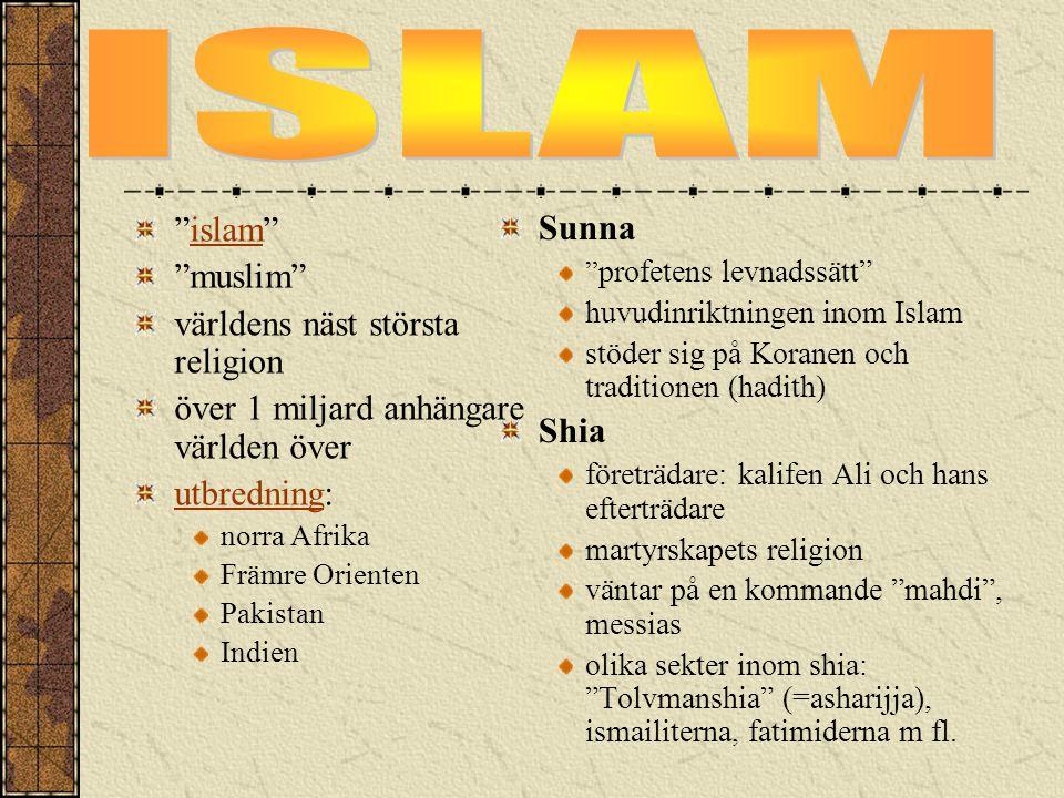 """""""islam""""islam """"muslim"""" världens näst största religion över 1 miljard anhängare världen över utbredningutbredning: norra Afrika Främre Orienten Pakistan"""