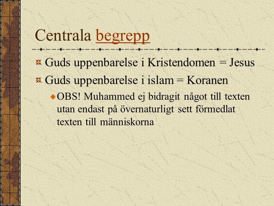 Centrala begreppbegrepp Guds uppenbarelse i Kristendomen = Jesus Guds uppenbarelse i islam = Koranen OBS! Muhammed ej bidragit något till texten utan