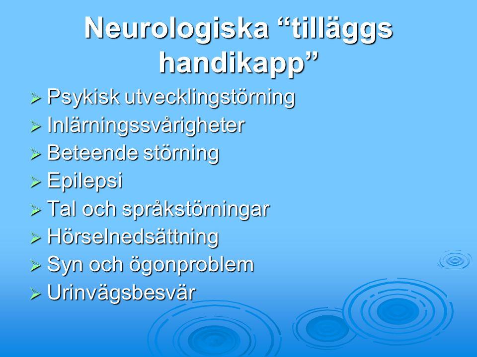 """Neurologiska """"tilläggs handikapp""""  Psykisk utvecklingstörning  Inlärningssvårigheter  Beteende störning  Epilepsi  Tal och språkstörningar  Hörs"""