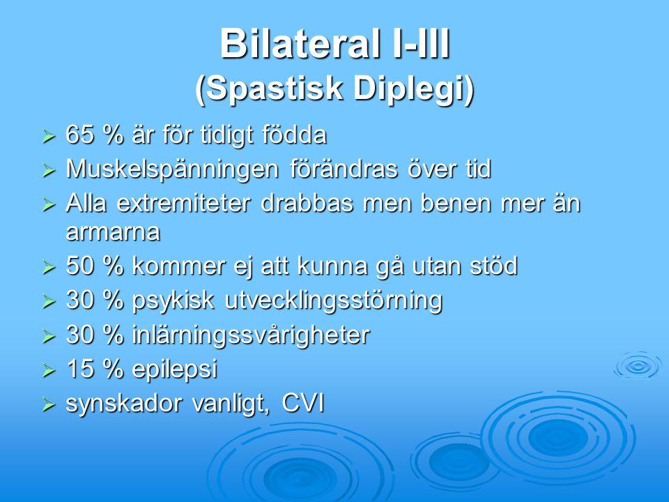 Bilateral I-III (Spastisk Diplegi)  65 % är för tidigt födda  Muskelspänningen förändras över tid  Alla extremiteter drabbas men benen mer än armar