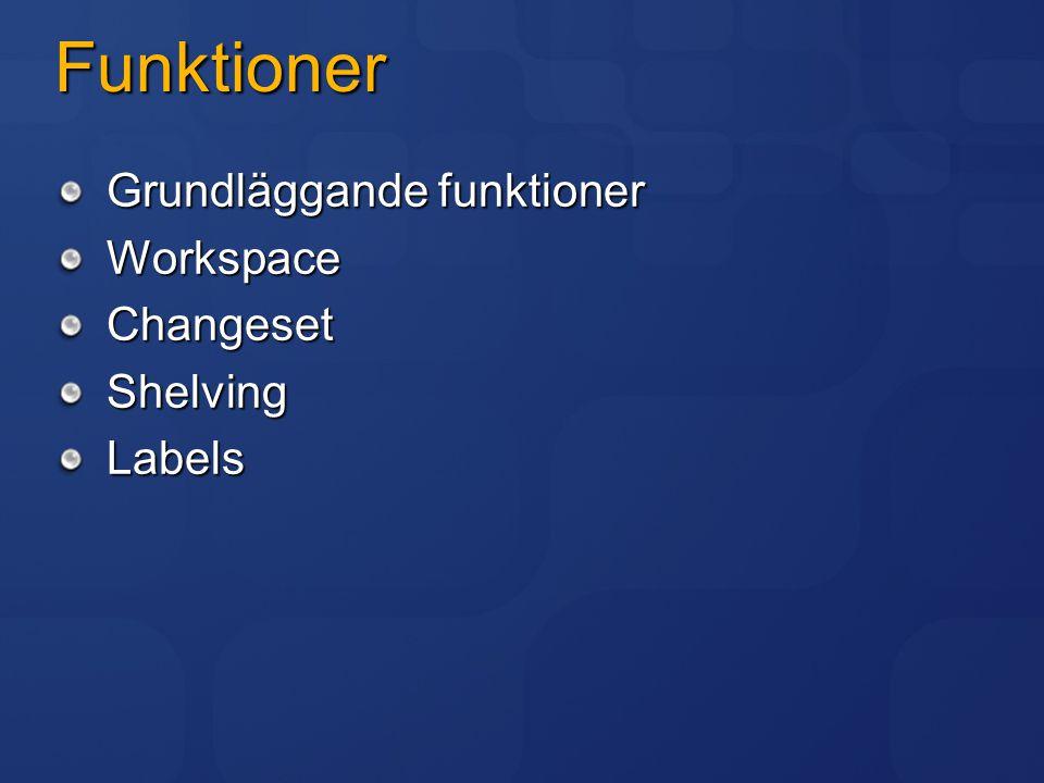 Funktioner Grundläggande funktioner WorkspaceChangesetShelvingLabels