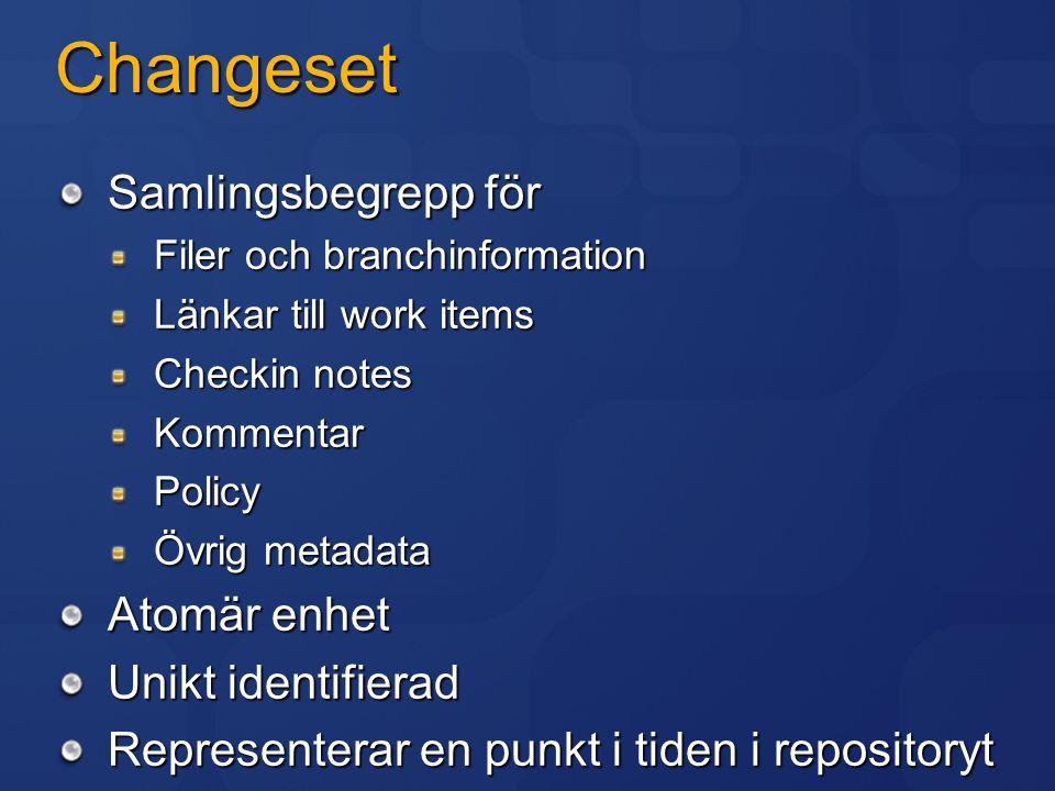 Changeset Samlingsbegrepp för Filer och branchinformation Länkar till work items Checkin notes KommentarPolicy Övrig metadata Atomär enhet Unikt ident