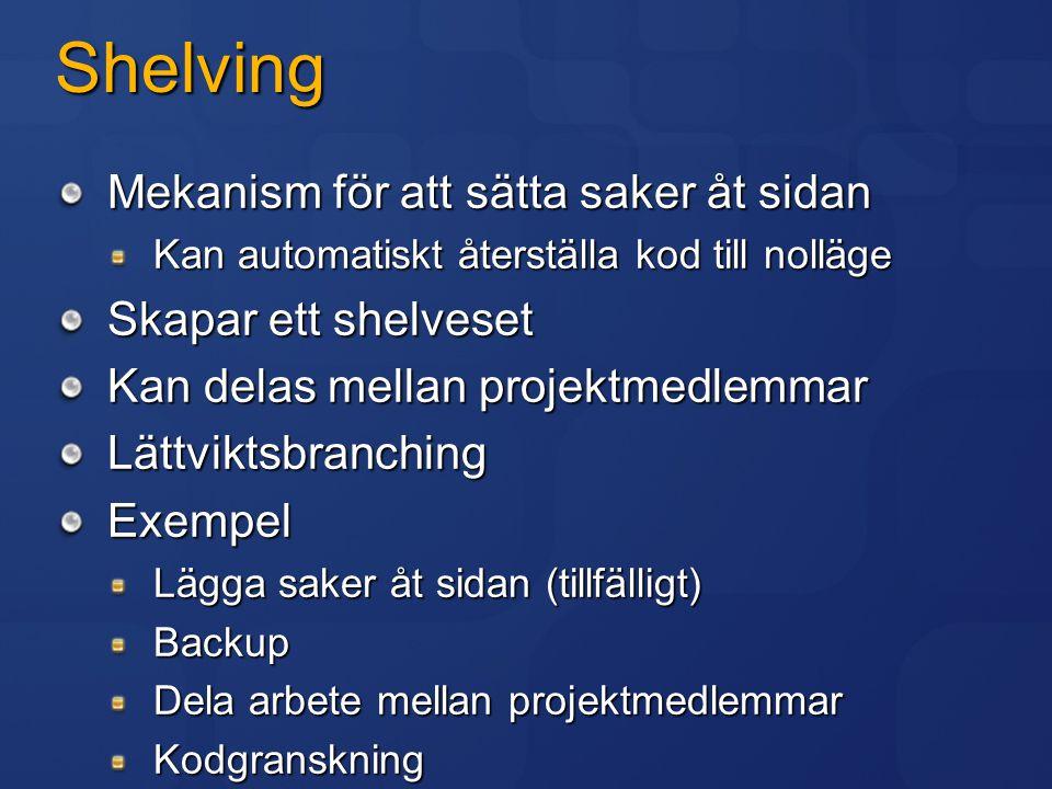 Shelving Mekanism för att sätta saker åt sidan Kan automatiskt återställa kod till nolläge Skapar ett shelveset Kan delas mellan projektmedlemmar Lätt