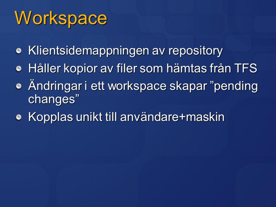 """Workspace Klientsidemappningen av repository Håller kopior av filer som hämtas från TFS Ändringar i ett workspace skapar """"pending changes"""" Kopplas uni"""