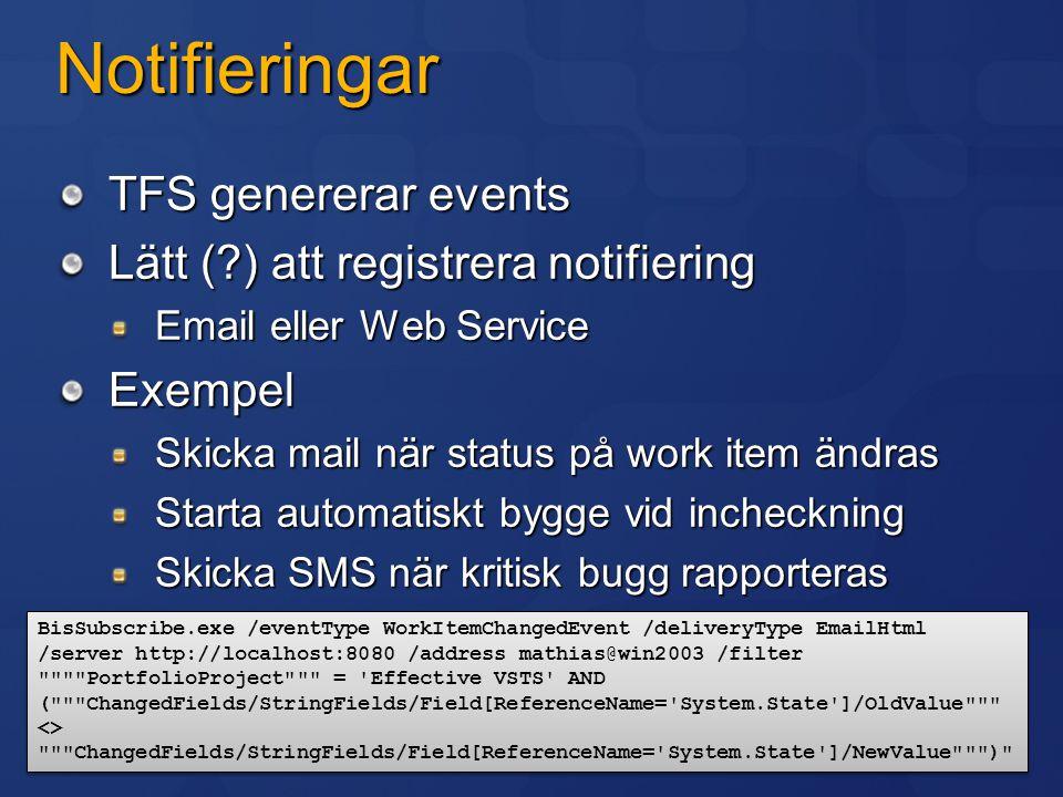Notifieringar TFS genererar events Lätt (?) att registrera notifiering Email eller Web Service Exempel Skicka mail när status på work item ändras Star
