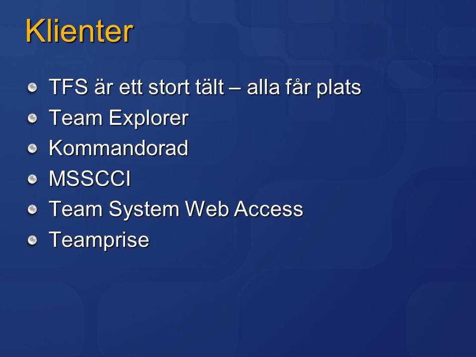 Klienter TFS är ett stort tält – alla får plats Team Explorer KommandoradMSSCCI Team System Web Access Teamprise