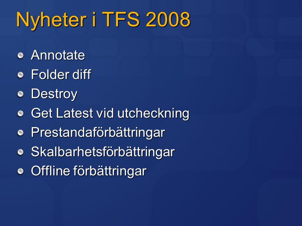 Nyheter i TFS 2008 Inbyggt stöd för Continuous Integration Schemalagda byggen Bättre UI för att skapa byggen Stoppa och ta bort byggen från UI Multitrådad byggnation Förenklad integration med enhetstester Bättre objektmodell i.NET