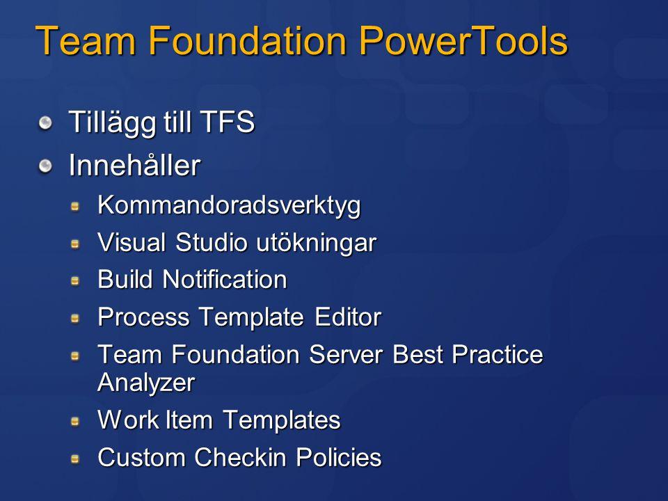 Team Foundation PowerTools Tillägg till TFS InnehållerKommandoradsverktyg Visual Studio utökningar Build Notification Process Template Editor Team Fou