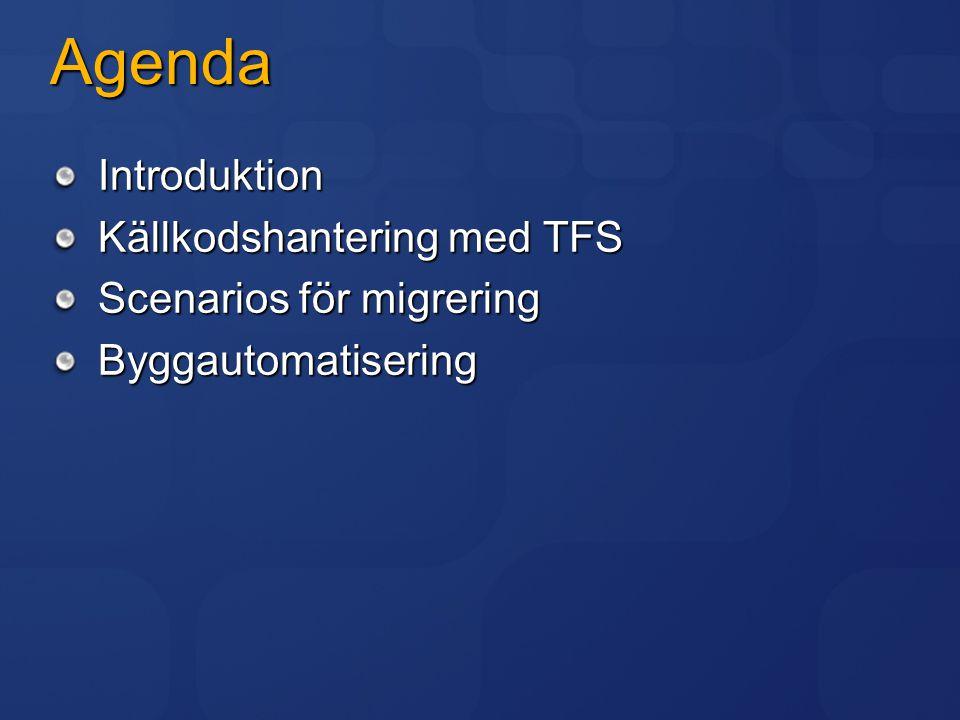 Agenda Introduktion Källkodshantering med TFS Scenarios för migrering Byggautomatisering