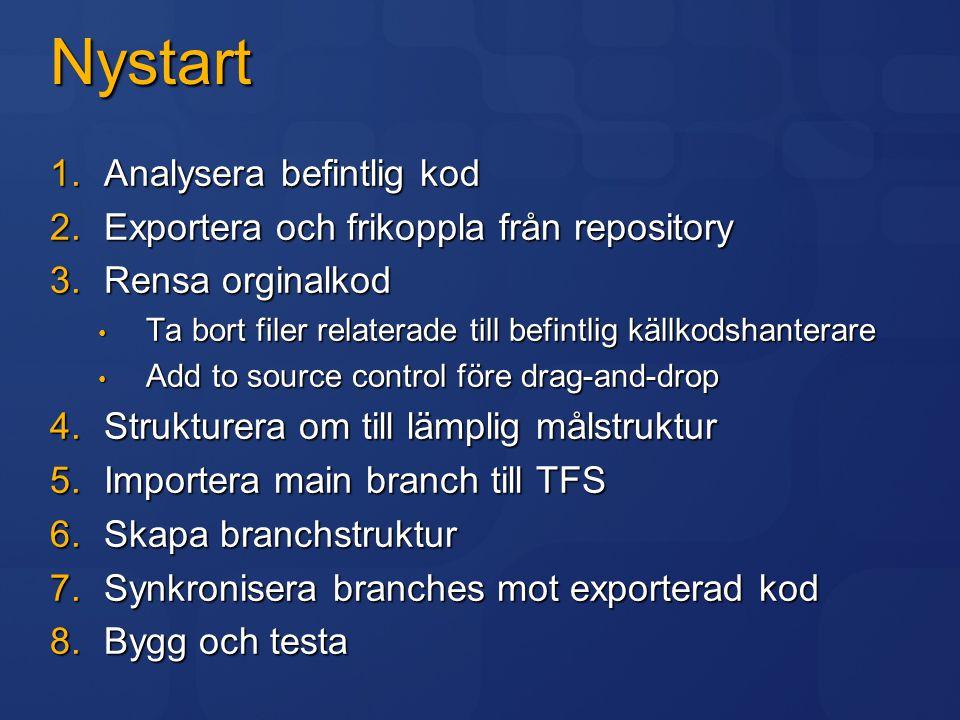 Nystart 1.Analysera befintlig kod 2.Exportera och frikoppla från repository 3.Rensa orginalkod Ta bort filer relaterade till befintlig källkodshantera