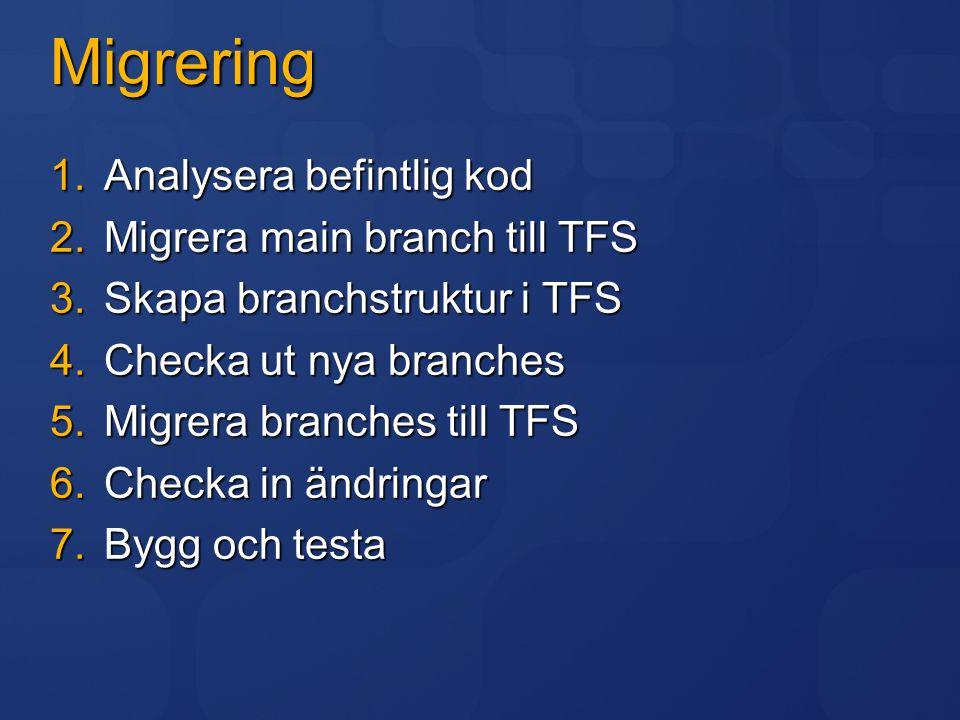 Migrering 1.Analysera befintlig kod 2.Migrera main branch till TFS 3.Skapa branchstruktur i TFS 4.Checka ut nya branches 5.Migrera branches till TFS 6