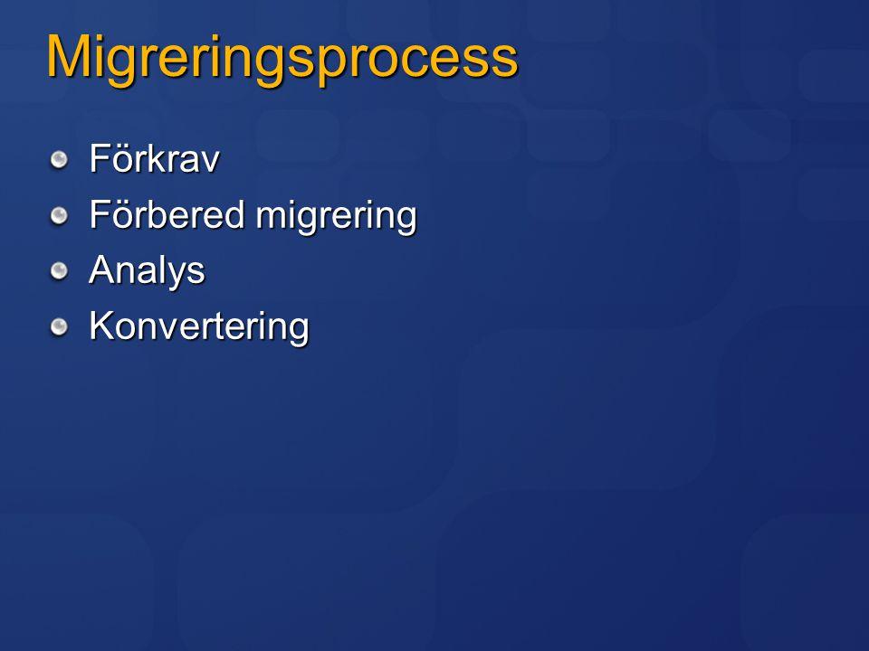 Migreringsprocess Förkrav Förbered migrering AnalysKonvertering