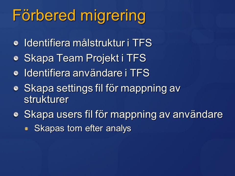 Settings.xml VSSDatabase: pekar ut VSS databas ProjectMapProject Source: VSS folder att analysera Settings Output: resultatfil från analys