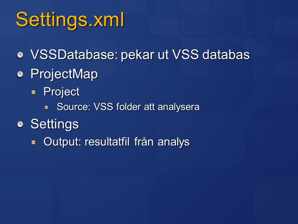 Analys settings.xml exempel