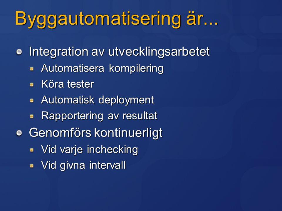 Byggautomatisering är... Integration av utvecklingsarbetet Automatisera kompilering Köra tester Automatisk deployment Rapportering av resultat Genomfö