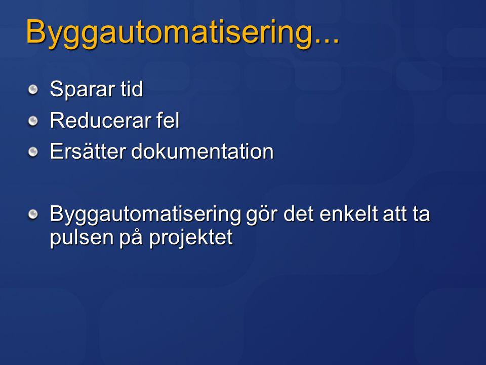 Byggautomatisering... Sparar tid Reducerar fel Ersätter dokumentation Byggautomatisering gör det enkelt att ta pulsen på projektet