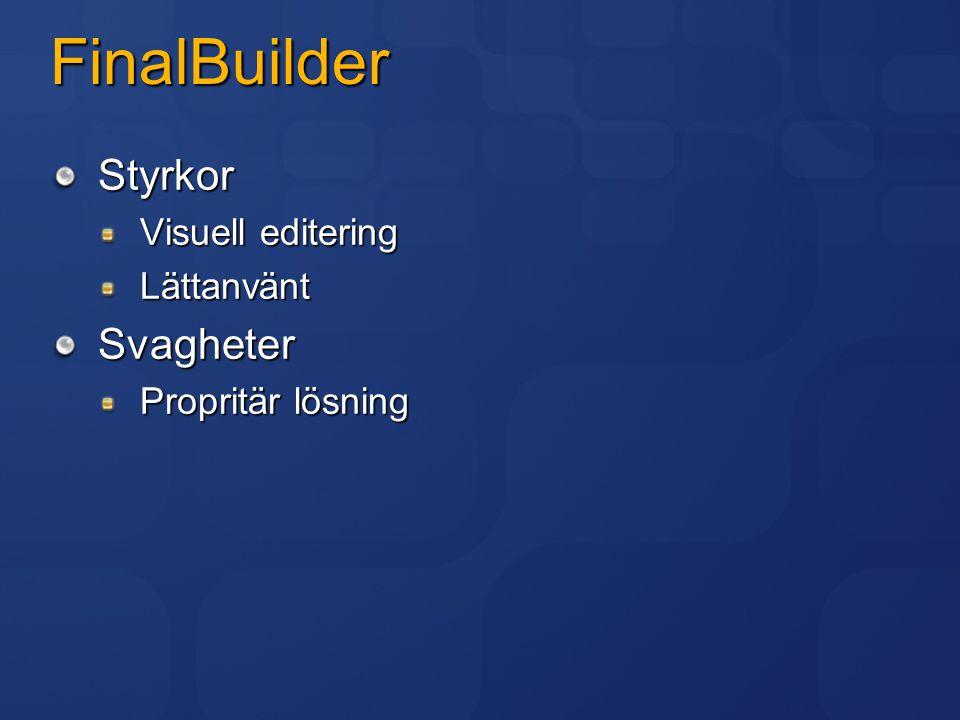 FinalBuilder Styrkor Visuell editering LättanväntSvagheter Propritär lösning