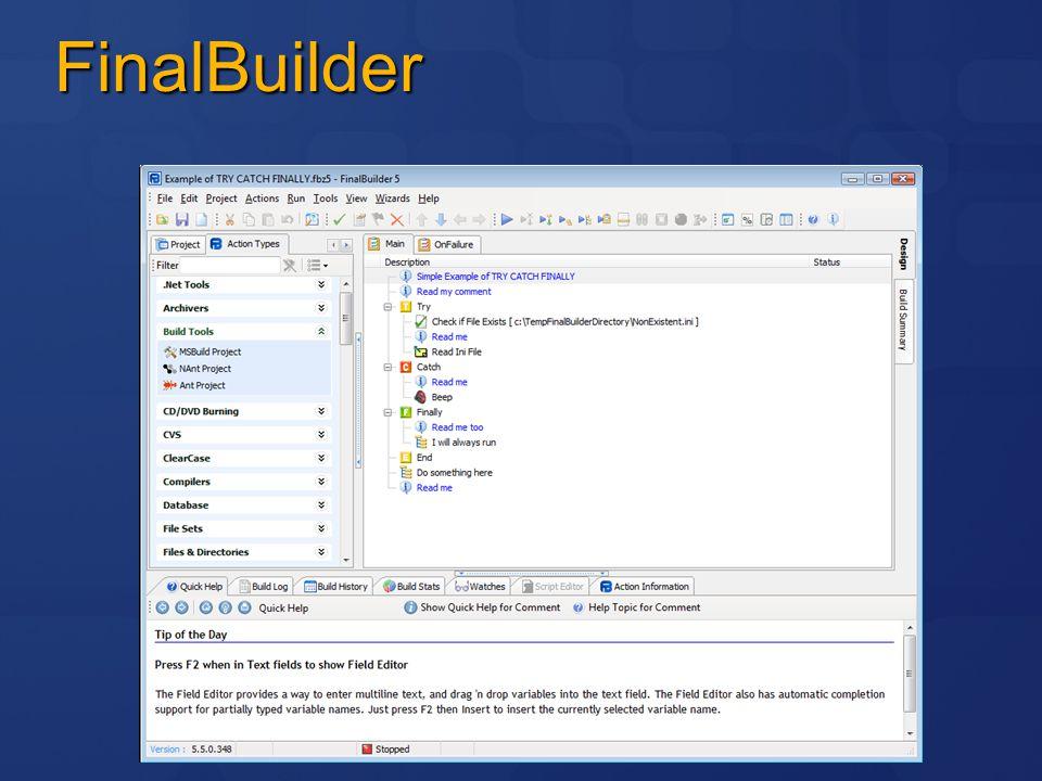 VisualBuild Styrkor Visuell editering Stöd för många aktiviter Bra integration Svagheter Propritär lösning Svårunderhållna script Procedurellt