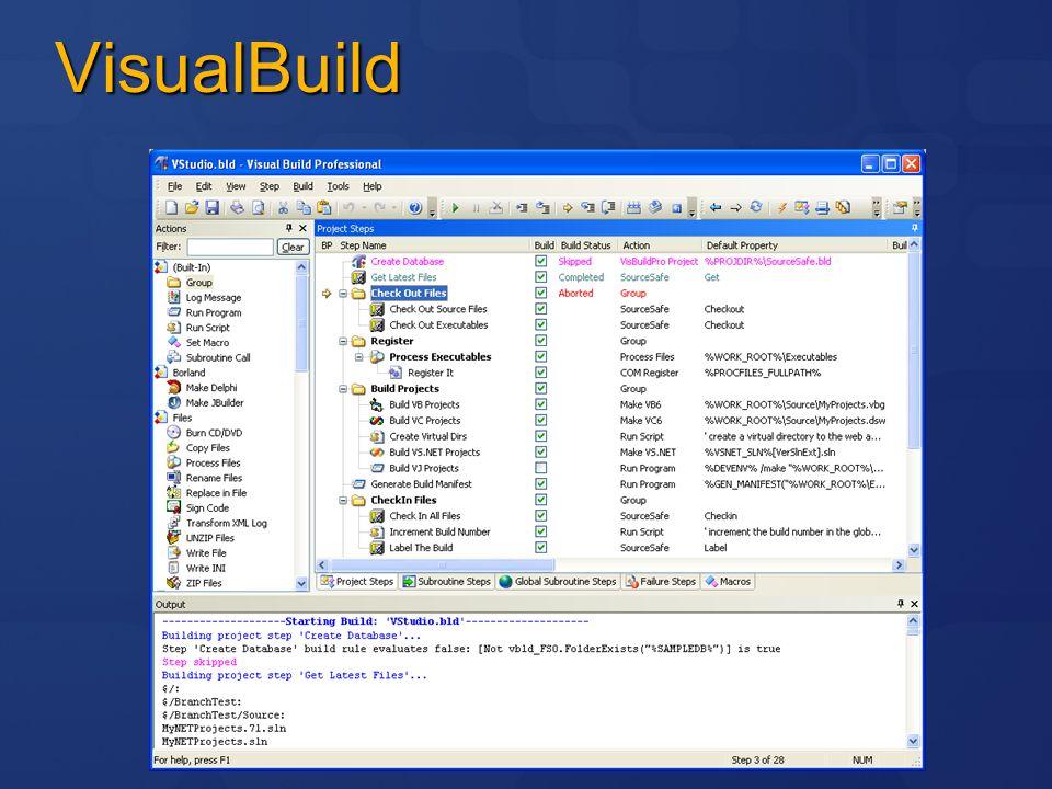 Team Build Automatiserad bygglösning Stödjer end-to-end byggnation Välintegrerad med TFS och Visual Studio Uppdaterar projekt nyckeltal Producerar rapporter Fullt utökningsbar