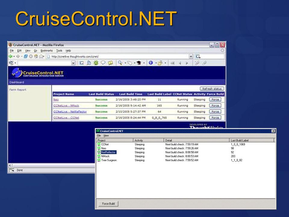 Migrering av byggprocess Nant  MSBuild CruiseControl.NET  TeamBuild CCTray  BuildNotification CruiseControl.NET och TFS Samexistens genom TFSCCNetPlugin http://www.codeplex.com/TFSCCNetPlugin Resten får konverteras