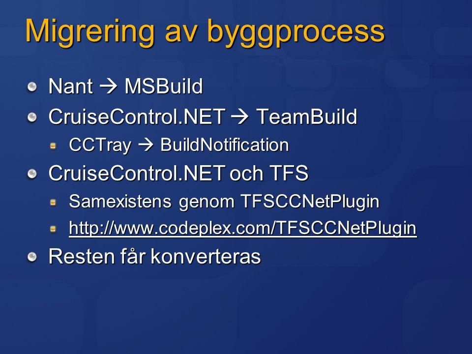 Migrering av byggprocess Nant  MSBuild CruiseControl.NET  TeamBuild CCTray  BuildNotification CruiseControl.NET och TFS Samexistens genom TFSCCNetP