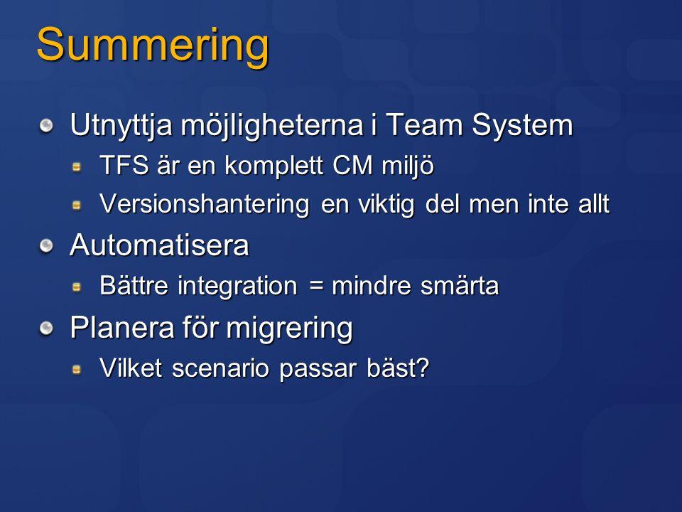 Summering Utnyttja möjligheterna i Team System TFS är en komplett CM miljö Versionshantering en viktig del men inte allt Automatisera Bättre integrati